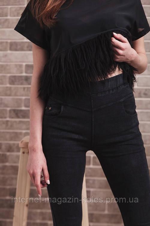 Классические черные джеггинсы с заклепками на кармане, фото 2