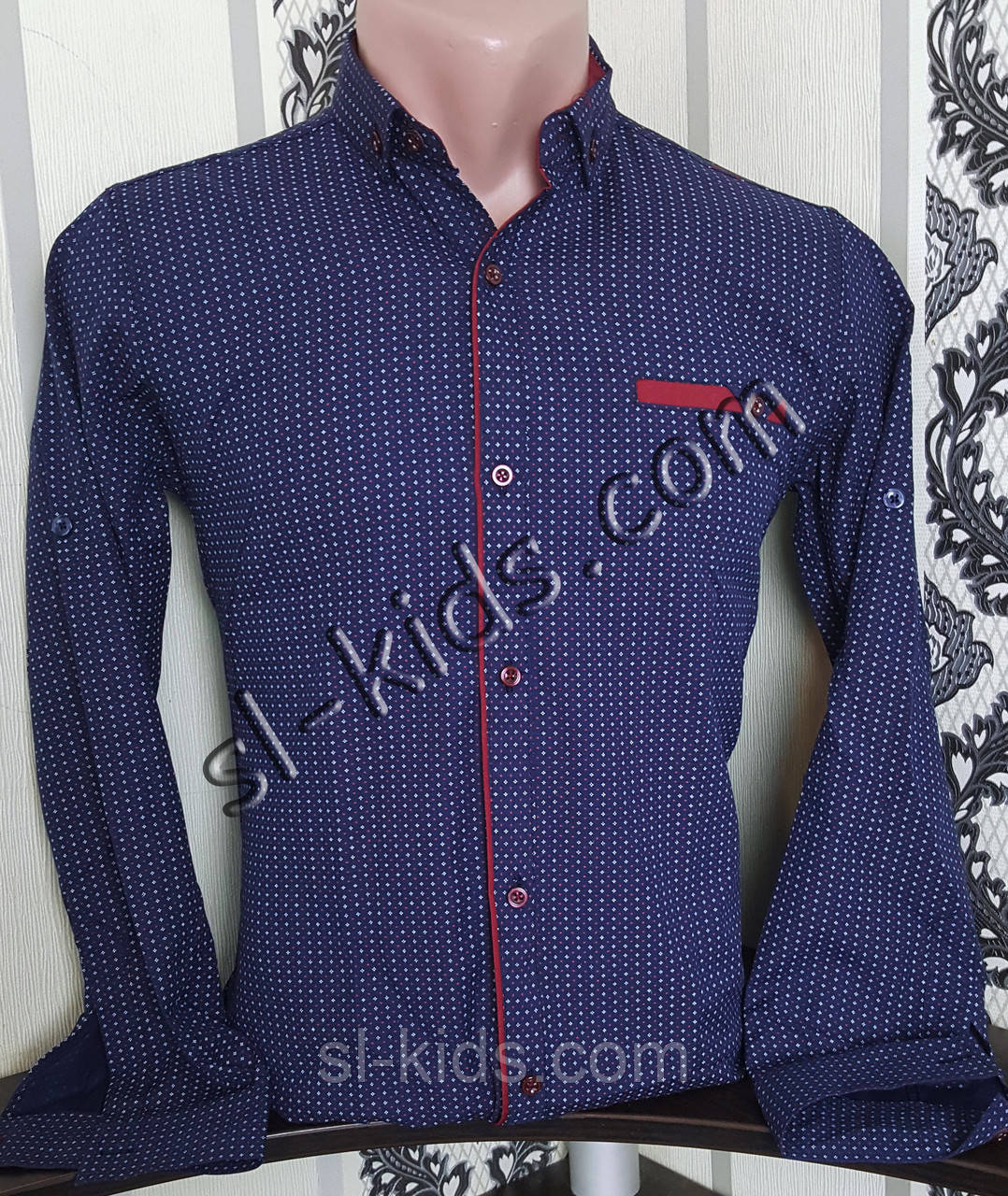 Стильная рубашка для мальчика 116-146 см(опт) (темно синяя) (пр. Турция)