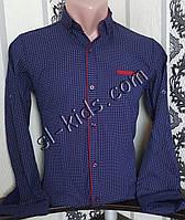 Стрейчевая рубашка для мальчика 6-11 лет(опт)(темно синяя) (пр. Турция)