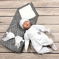 """Набор на выписку для новорождённого """"Love it"""" (серый с белым), сезон весна-лето, фото 1"""