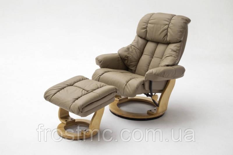 Крісло Relax  Calgar Chair Nougat для відпочинку з підставкою під ноги шкіряне основа натуральна.