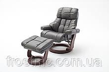 Крісло Relax Calgar Chair Mud для відпочинку з підставкою під ноги шкіряне основа Горіх