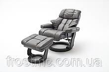 Крісло Relax Calgar Chair Mud/Hide Blk для відпочинку з підставкою під ноги шкіряне основа чорна
