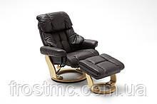 Крісло Relax  Calgar Chair Brown для відпочинку з підставкою під ноги шкіряне основа Натуральний