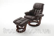 Крісло Relax Calgar Chair Brownдля відпочинку з підставкою під ноги шкіряне основа Горіх