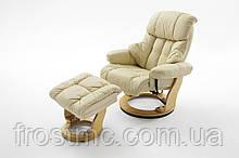 Кресло Frost Relax Calgar Chair Creame Wood с оттоманкой для ног