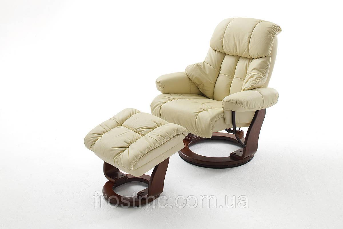 Крісло Relax  Calgar Chair Creame для відпочинку з підставкою під ноги шкіряне основа Горіх