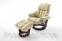 Крісло Relax Calgar Chair Creameдля відпочинку з підставкою під ноги шкіряне основа Горіх