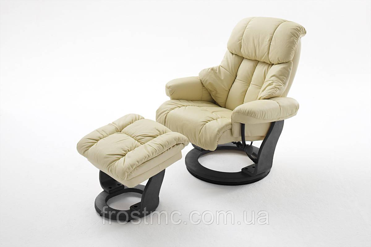 Крісло Relax  Calgar Chair Creame для відпочинку з підставкою під ноги шкіряне основа Чорна