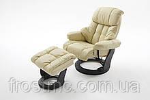 Крісло Relax Calgar Chair Creameдля відпочинку з підставкою під ноги шкіряне основа Чорна