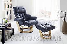 Крісло Relax Calgar Chair Blackдля відпочинку з підставкою під ноги шкіряне основа Натуральна
