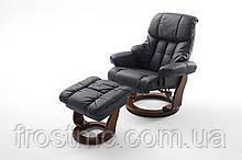 Крісло Relax Calgar Chair Blackдля відпочинку з підставкою під ноги шкіряне основа Горіх