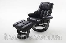 Крісло Relax Calgar Chair Blackдля відпочинку з підставкою під ноги шкіряне основа Чорна