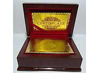 Карти (золото-пластик) у подарунковому скрині з відбитком 100 $.