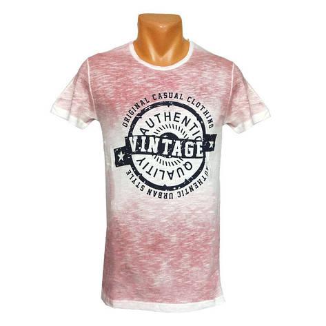 Мужская розовая футболка Vintage - №2411, фото 2