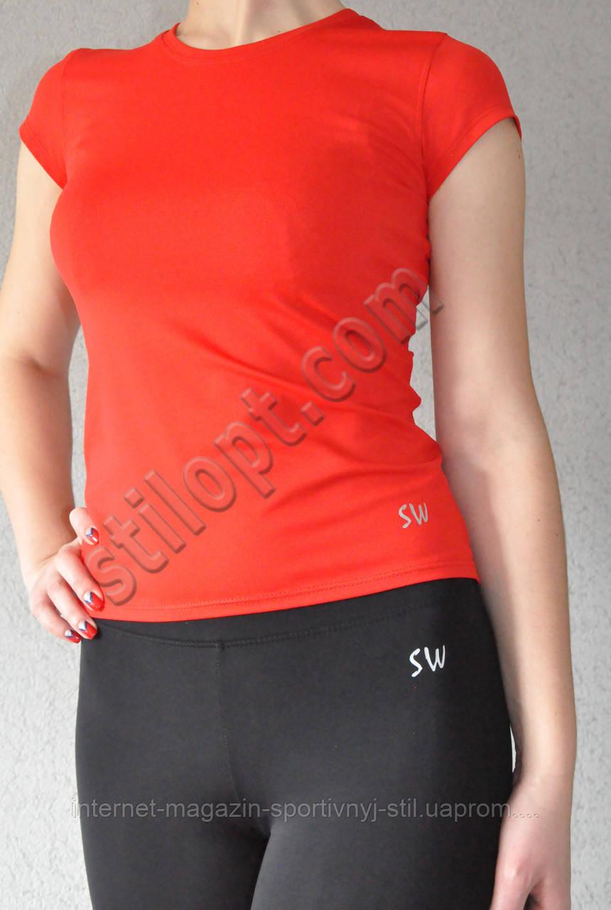 Футболка женская спортивная бифлекс красная