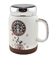 """Чашка керамическая с крышкой, Кружка """"Starbucks"""" , коричневая"""