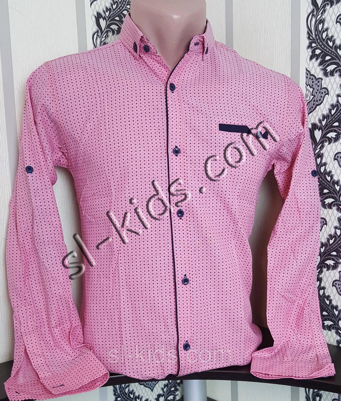 Стильная рубашка для мальчика 152-176 см(опт) (коралл) (пр. Турция)