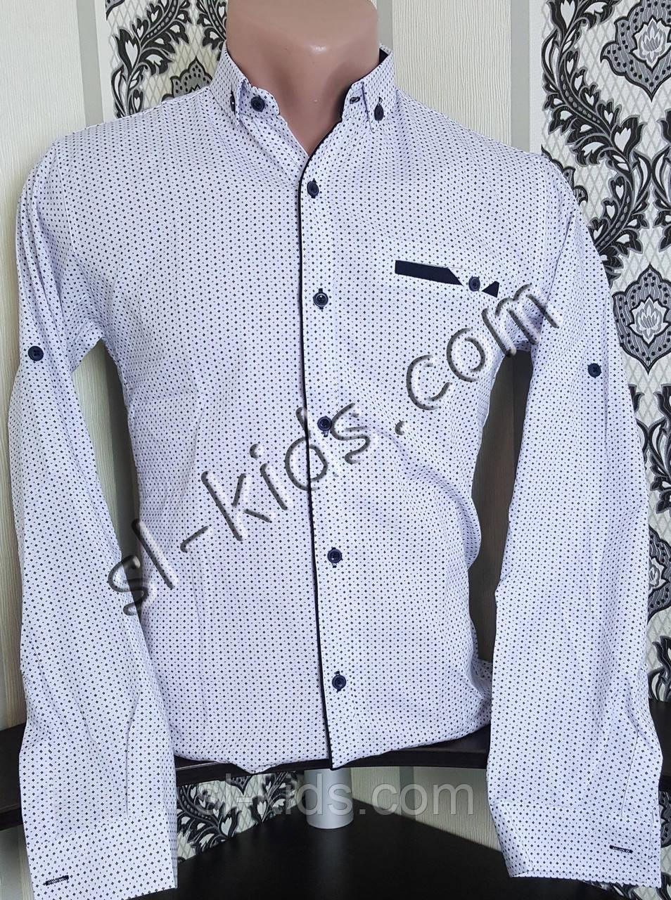 Стильная рубашка для мальчика 152-176 см(опт) (белая) (пр. Турция)
