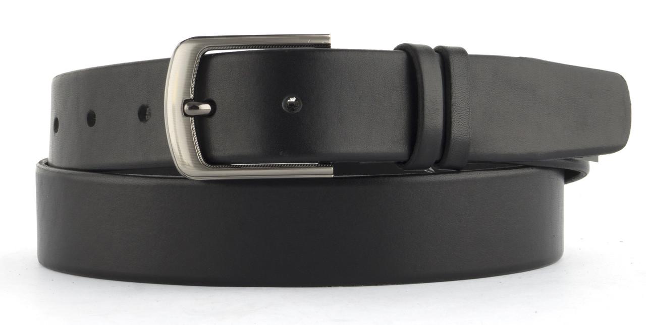 Качественный кожаный мужской ремень высокого качества 4 см Украина (103592) черная