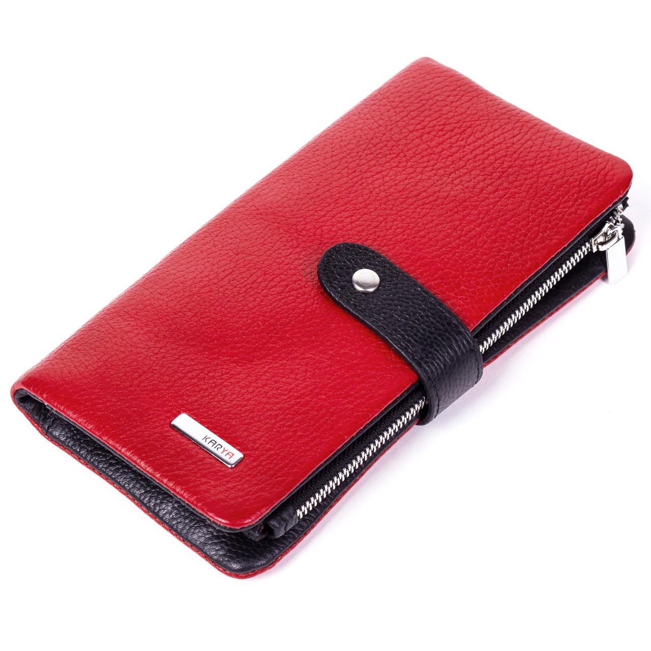 5badfcdd8f3f Кошелек KARYA 1135-46 красный с черным - FainaModa магазин кожаных изделий  в Тернополе