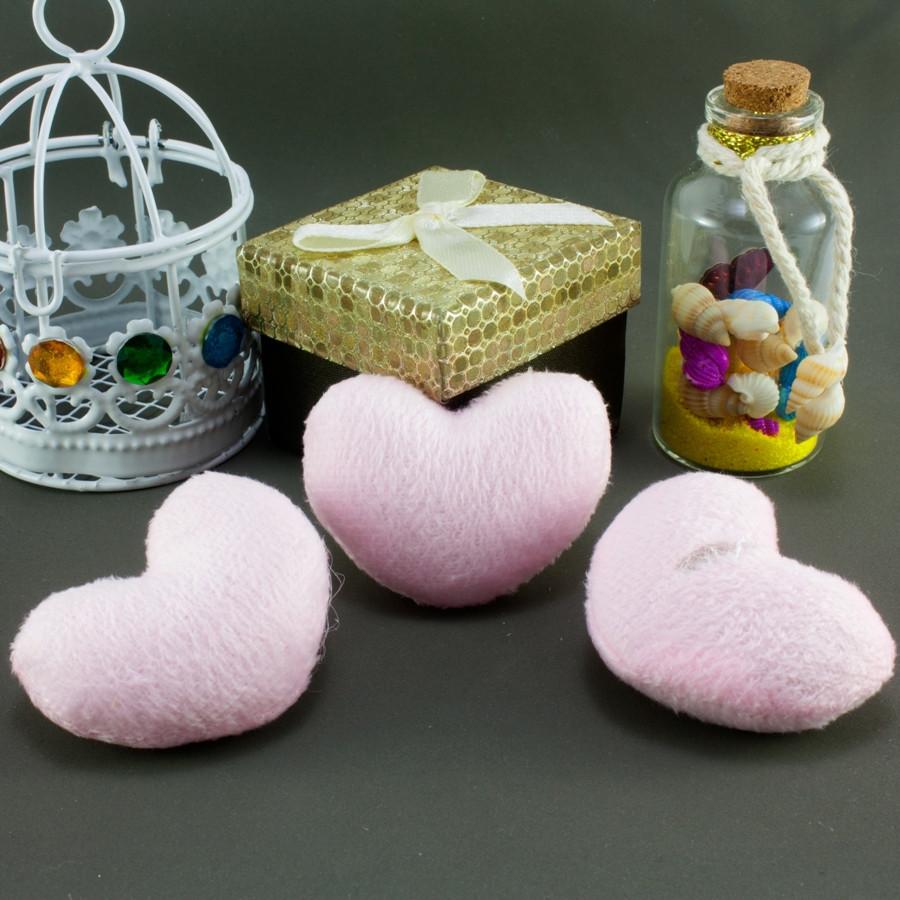"""Плюшевая заготовка-игрушка с мягким наполнителем """"Сердечко-4"""" 5х4см, Цена за 1шт Цвет - Розовый"""