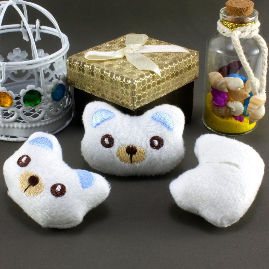 """Плюшевая заготовка-игрушка с мягким наполнителем """"Мишка-3"""" 5х3,5см, Цена за 1шт Цвет - Белый"""