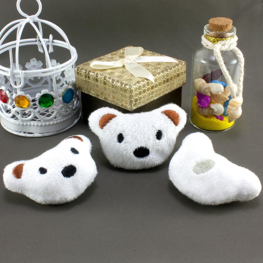 """Плюшевая заготовка-игрушка с мягким наполнителем """"Мишка-1"""" 5,5х3,5см, Цена за 1шт Цвет - Белый"""