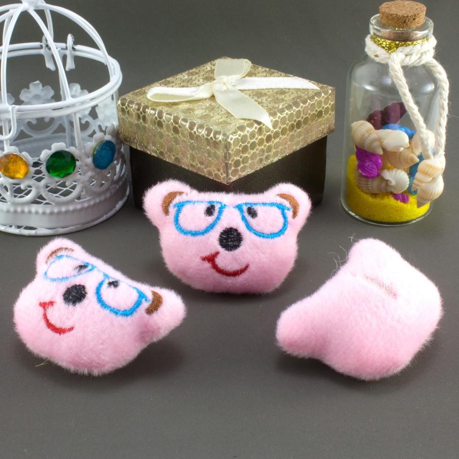 """Плюшевая заготовка-игрушка с мягким наполнителем """"Мишка в очках"""" 5х3,5см, Цена за 1шт Цвет - Розовый"""