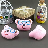 """Плюшевая заготовка-игрушка с мягким наполнителем """"Мишка в очках"""" 5х3,5см, Цена за 1шт Цвет - Розовый, фото 1"""