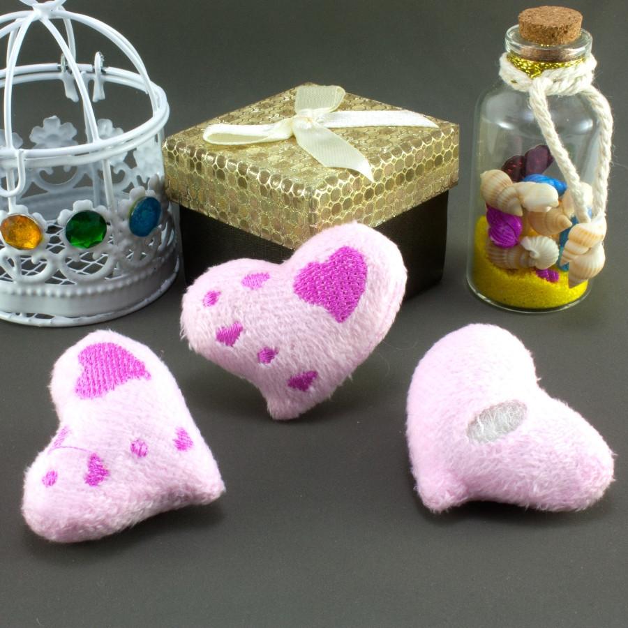 """Плюшевая заготовка-игрушка с мягким наполнителем """"Сердечко-3"""" 5х4см, Цена за 1шт Цвет - Розовый"""