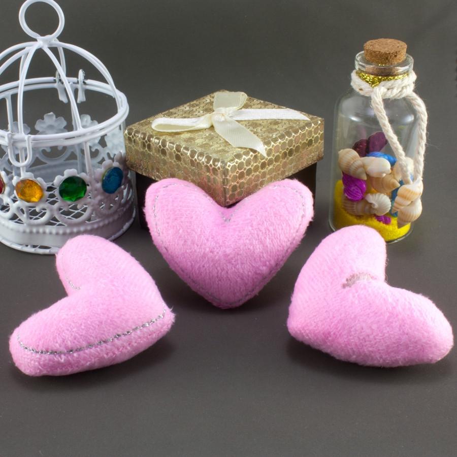 """Плюшевая заготовка-игрушка с мягким наполнителем """"Сердечко-2"""" 5,5х4,5см, Цена за 1шт Цвет - Розовый"""