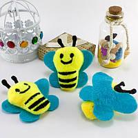 """Плюшевая заготовка-игрушка с мягким наполнителем """"Пчёлка"""" 5,5х5,5см, Цена за 1шт Цвет - на фото, фото 1"""