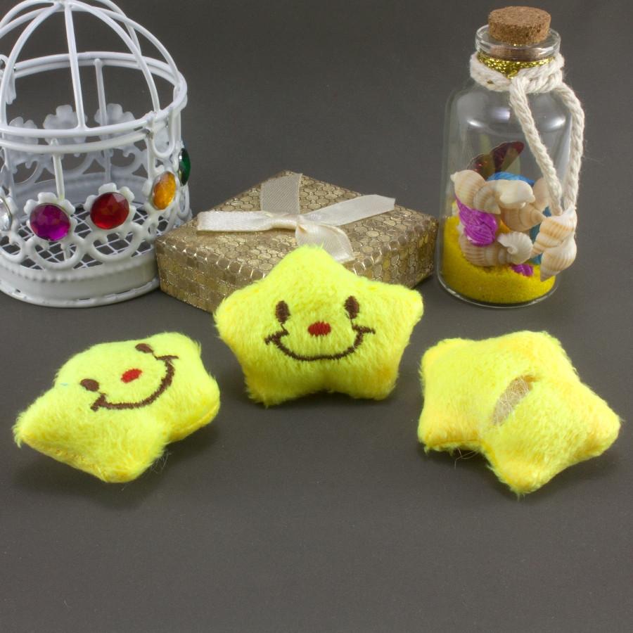 """Плюшевая заготовка-игрушка с мягким наполнителем """"Звёздочка"""" 4,5х3,5см, Цена за 1шт Цвет - Лимонный"""
