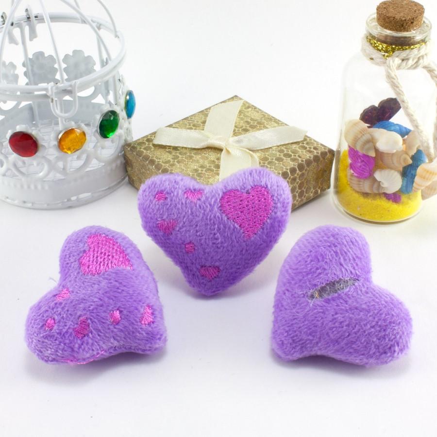 """Плюшевая заготовка-игрушка с мягким наполнителем """"Сердечко-1"""" 4,5х4см, Цена за 1шт Цвет - Сиреневый"""