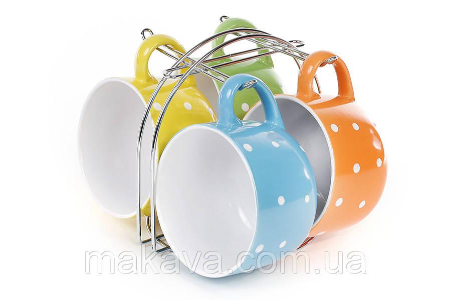 """Набор кружек керамических  на металлической подставке  """"Mix Color"""""""