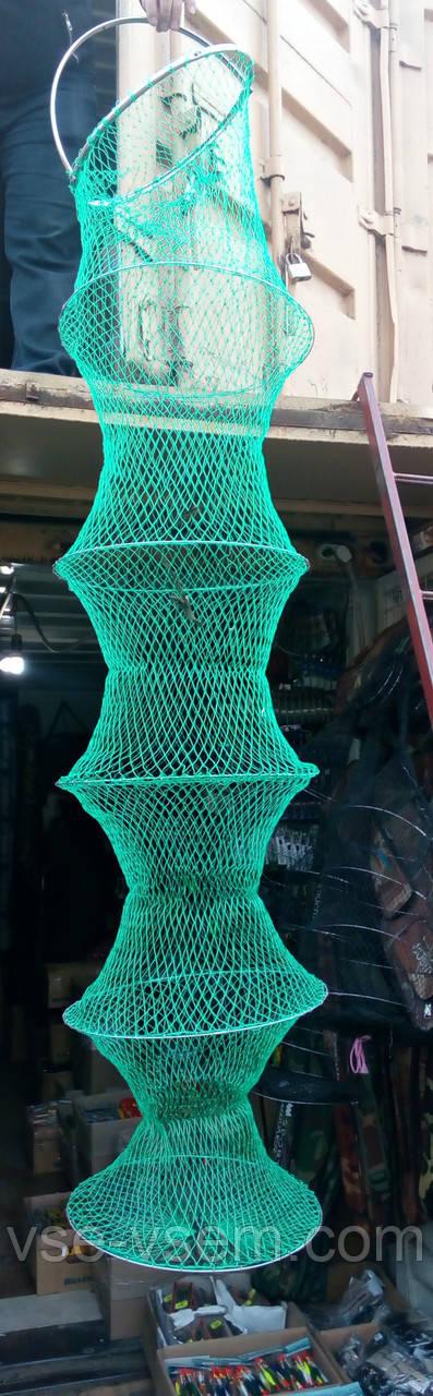 Садок рыболовный капроновый с металлическими кольцами и ручкой.