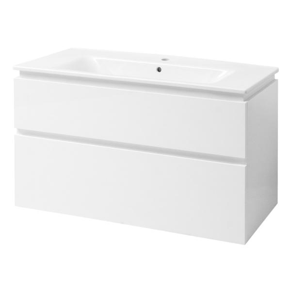 """Тумба под раковину для ванной комнаты Этна Бел. ТПБ-2Д 105 с умывальником """"Этна"""" Юввис"""