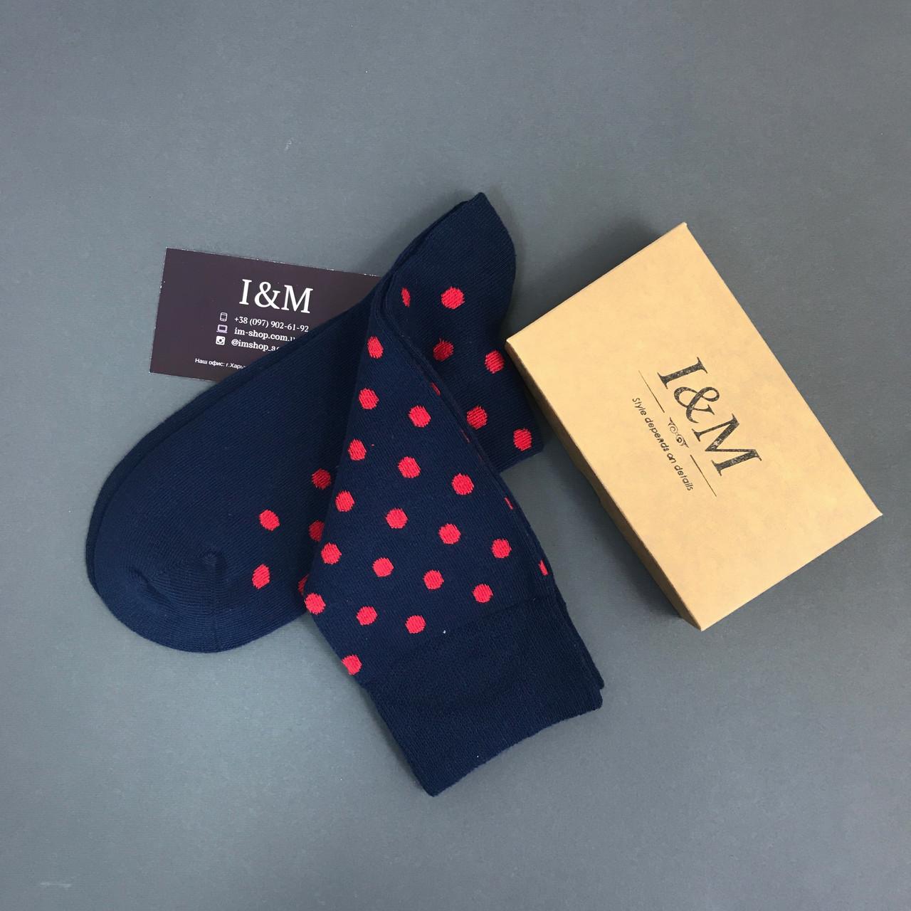 Носки I&M Craft синие в красный горох (070143)