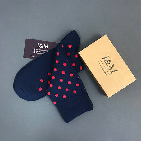 Носки I&M Craft синие в красный горох (070143), фото 2