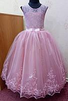 6.170 Пышное пыльно-розовое нарядное детское платье-маечка с гипюровым лифом и вышивкой на 6-8 лет