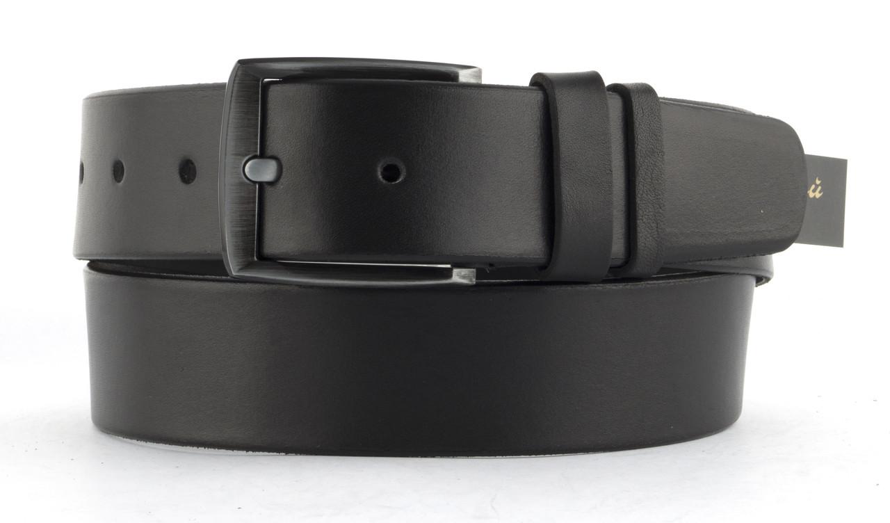 Качественный кожаный мужской ремень высокого качества 4.5 см Украина (103594) черный