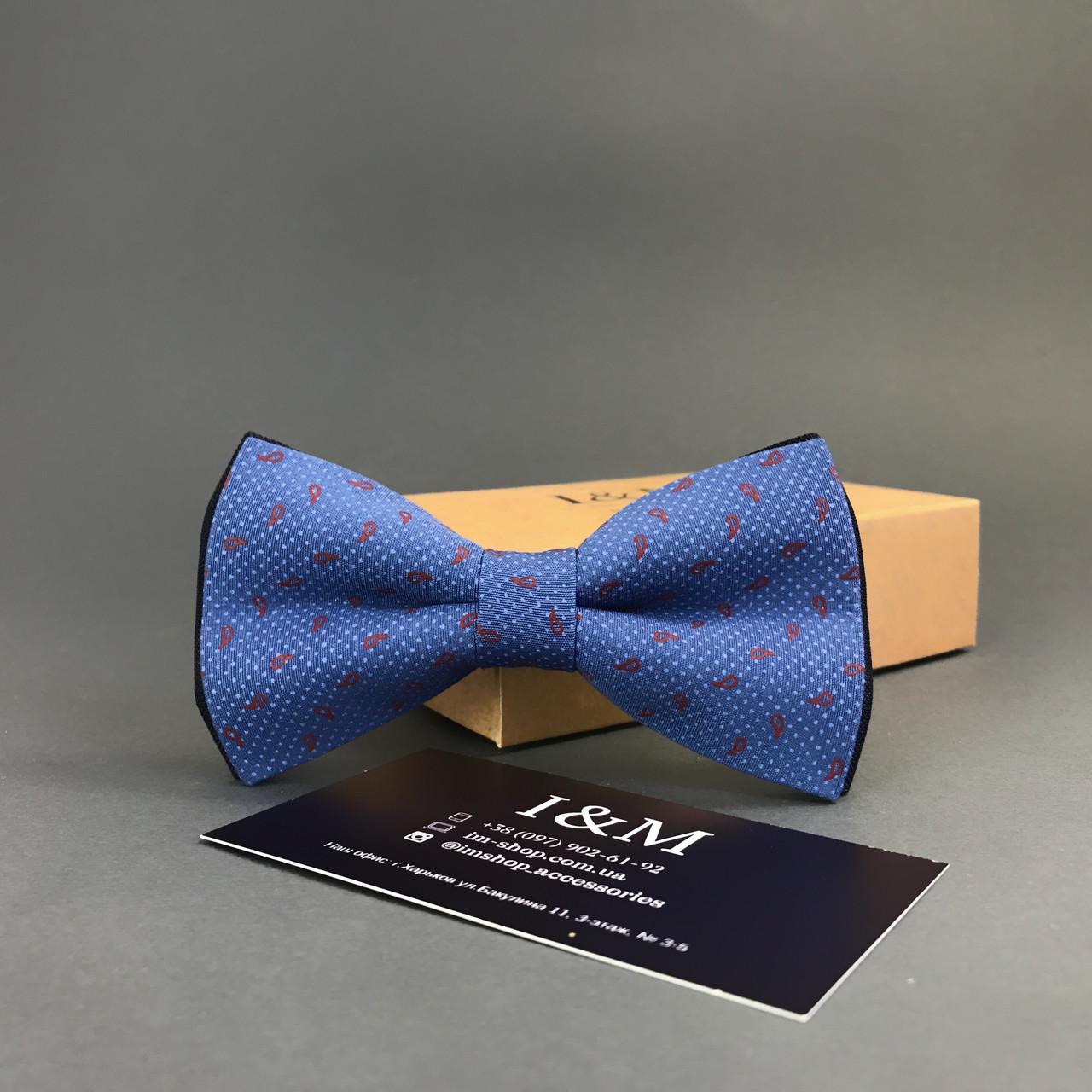 Галстук-бабочка I&M Craft синий в красные перцы (010238)