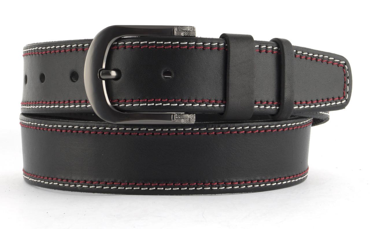 Качественный кожаный мужской ремень высокого качества 4.5 см Украина (103593) черный