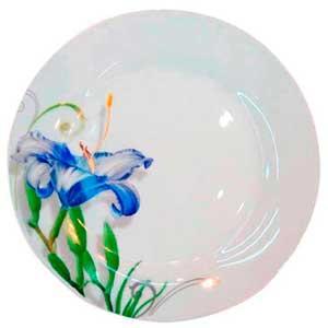 Тарелка керам. 200 мм мелкая Синяя лилия / уп. 12 шт./