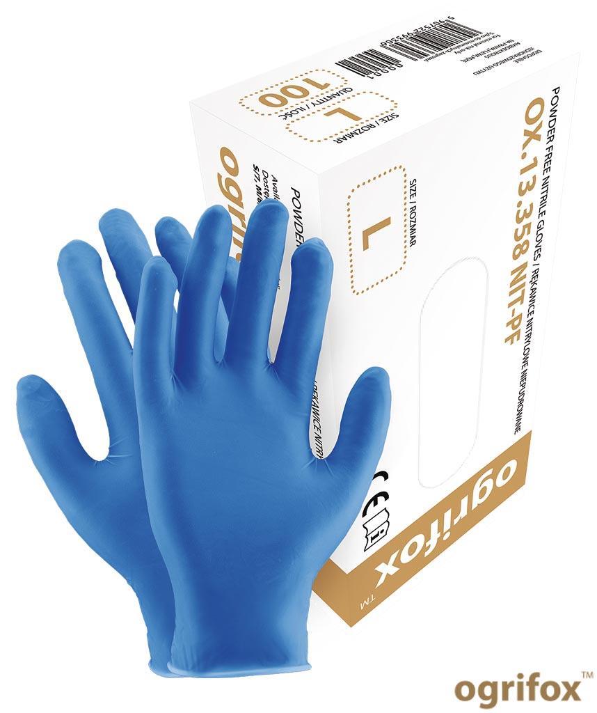 Перчатки нитриловые неопудренные рабочие Ogrifox OX-NIT-PF N