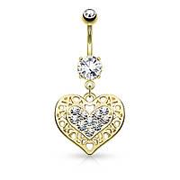 Сережка для пірсингу «Серце» позолочена