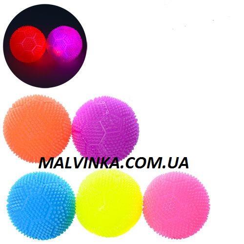 Мяч массажный MS 1148   7 см, пищалка, свет, на бат