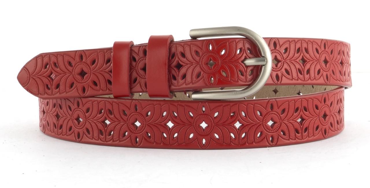 Прочный женский стильный кожаный ремень с перфорацией  и классической пряжкой 2,5 см  (103597) красный