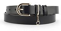 Прочный женский стильный кожаный ремень с классической пряжкой 2,5 см  (103602) черный
